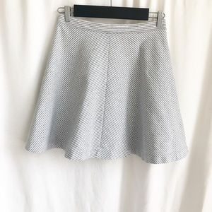 Uniqlo grey and white stripe a-line skirt